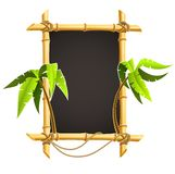 Bamboo frame with tropical palms Stock Photos