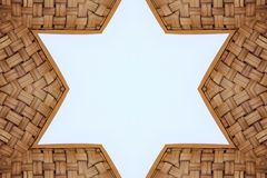 Bamboo frame weave Star shape texture on White background,. Copy space Royalty Free Stock Image