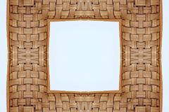 Bamboo frame weave texture on White background,. Copy space Stock Images