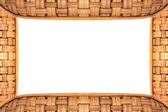 Bamboo frame weave texture on White background,. Copy space Stock Image