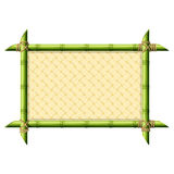 Bamboo frame with wicker pattern vector illustration
