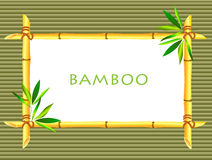Bamboo frameon bamboo background. Bamboo frame tied up with rope on bamboo background Royalty Free Stock Photo
