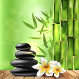 Bamboo, frangipani flowers and stones - spa background Stock Photos