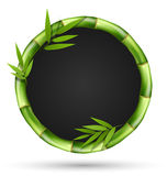 Bamboo grass circle frame with leafs  on white Royalty Free Stock Photo