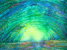 Bamboo green forest arch tunnel sun lighting watercolor painting. Illustration design hand drawn Royalty Free Stock Photos