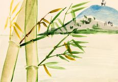 Bamboo grove and view of mount Royalty Free Stock Photo