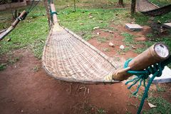 Bamboo hammock weave. Out door Royalty Free Stock Photo