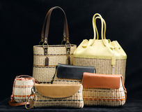 Bamboo handbags Stock Photos