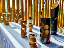 Bamboo handcrafts in Nicaragua. Handcrafts bamboo utilities made by artisans in Nicaragua royalty free stock images