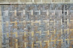 Bamboo handicraft weave are wall as a background stock photo