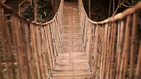 Bamboo hanging bridge over river in tropical forest, Bohol, Philippines stock footage