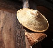 Bamboo hat and basket Stock Image
