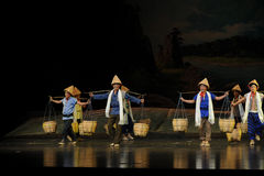 Bamboo hat team- Jiangxi opera a steelyard Royalty Free Stock Image