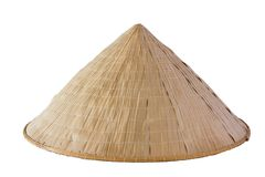 Bamboo Hat weave. On white isolate background Stock Photos