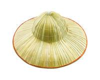 The bamboo hat on white isolate background. Royalty Free Stock Images
