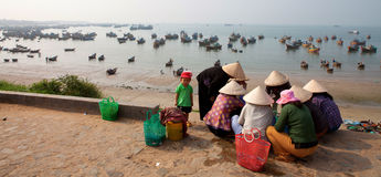 Bamboo hat Vietnamese women choose fish to sell in market stock image