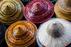 Bamboo hats craft. Royalty Free Stock Photos