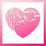 Bamboo heart frame with moon and cloud Royalty Free Stock Photos