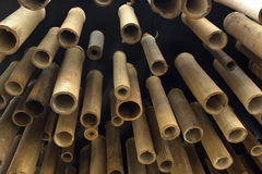 Bamboo home decorate. The bamboo on ceiling direct to the ground home decorate Stock Photography