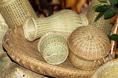 Bamboo home items. Beautiful shot of items made from bamboo Stock Photos