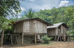 Bamboo house in the jungle. Royalty Free Stock Photo