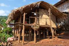 Bamboo house. The bamboo house in Lahu (North Tayland Stock Image