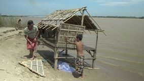 Bamboo house, mekong , cambodia, southeast asia stock video