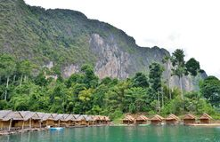 Bamboo house resort, floating among mountains view Stock Image