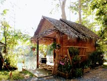 Bamboo house side the lake royalty free stock photo