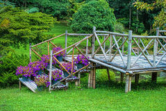 Bamboo house staircase. In the garden Stock Images