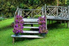 Bamboo house staircase. In the garden Royalty Free Stock Photos