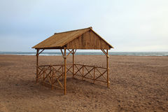 Bamboo hut. On the beach Royalty Free Stock Photo