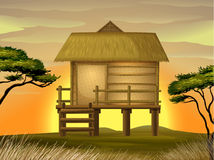 Bamboo hut. Illustration of a hut in beautiful nature Royalty Free Illustration