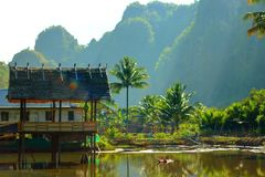 Bamboo hut. Above the pond Royalty Free Stock Images