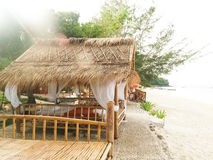 Bamboo hut on the beach Royalty Free Stock Photo
