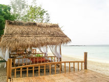 Bamboo hut on the beach Stock Image