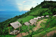 Bamboo hut in hill tribe village Royalty Free Stock Images