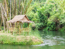 Bamboo hut near the river Royalty Free Stock Photography