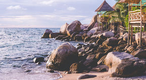 Bamboo hut over sea on Sunset, Koh Tao, Samui, Thailand. Bamboo hut on the roks over sea on Sunset, Koh Tao, Samui, Thailand Stock Images
