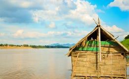Bamboo hut. In River Khong Royalty Free Stock Photos