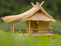Bamboo hut toy on green grass Stock Images