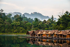Bamboo huts floating in a Thai village Royalty Free Stock Images