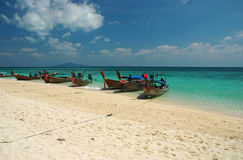 Bamboo island boats Royalty Free Stock Photo