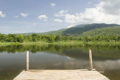 Bamboo jetty walkway pier at the lake Royalty Free Stock Photography