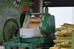 Bamboo juice maker. Raw, organic, cold-pressed bamboo juice is sold on the streets of Penang Royalty Free Stock Images