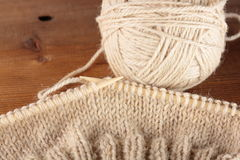 Bamboo knitting needles Stock Photo