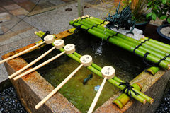 Bamboo ladle in Japan temple Stock Images