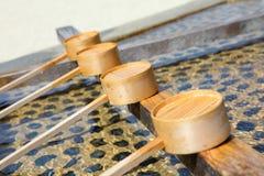 Bamboo ladle Stock Image
