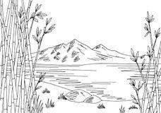 Bamboo lake graphic black white city landscape sketch illustration Stock Photos