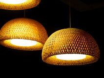 Bamboo lamp made of woven mesh natural bamboo Royalty Free Stock Photography
